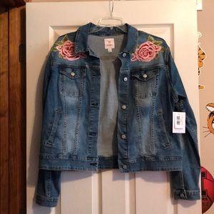 NWT LuLaRoe de stressed denim jean jacket